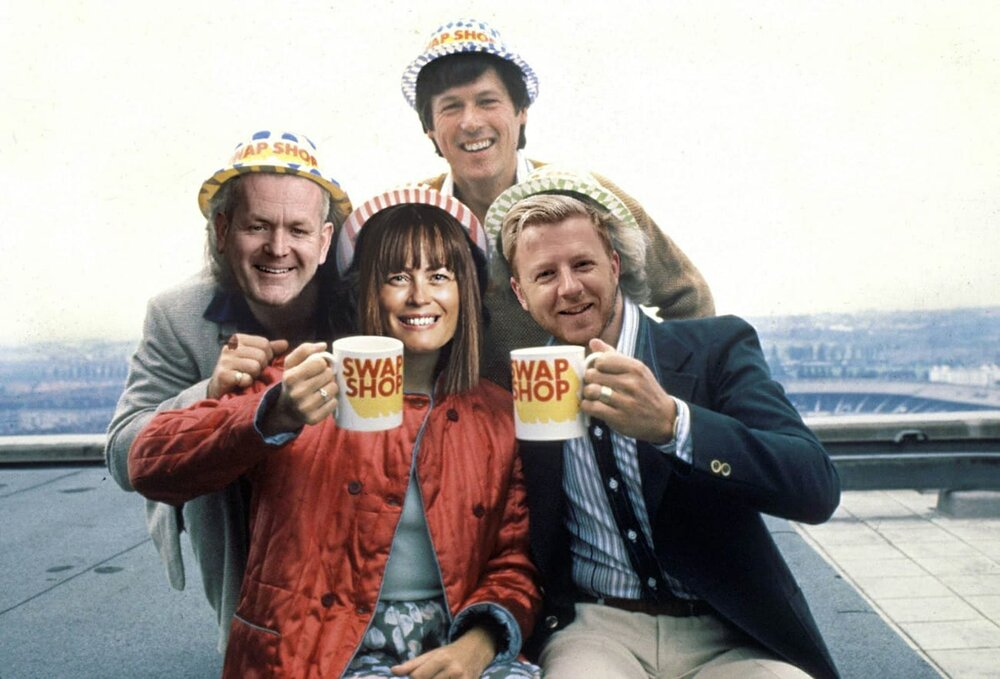 Faces of the Derby Swap Shop founders (front left to right), Dean Jackson, Rachel Hayward and Lee Marples, superimposed on the bodies of the Multi-Coloured Swap Shop TV show's presenters, including original cast member John Craven at the back.
