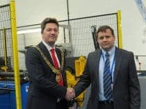 Derby Mayor John Whitby with Tidyco Production Director Phil Mason
